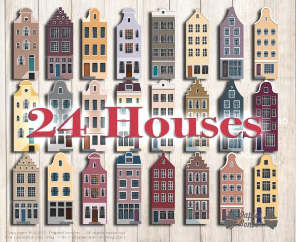 Calendrier de l'Avent Amsterdam à imprimer - Noël dans la ville 24 maisons