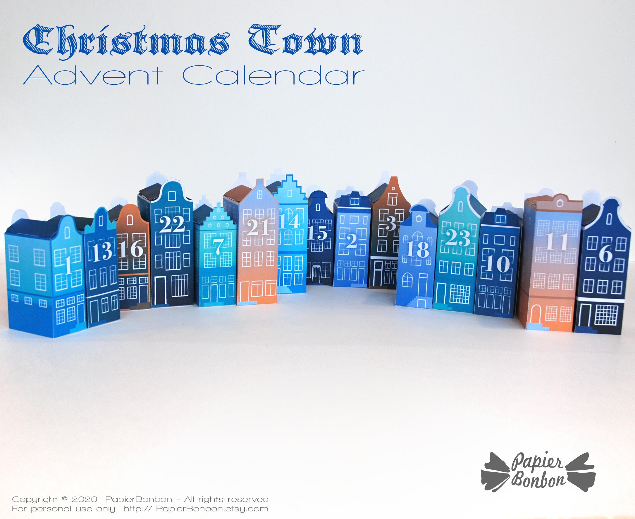 DIY Advent Calendar -Calendrier de l'Avent Bleu Amsterdam à imprimer - Nuit Noël dans la ville