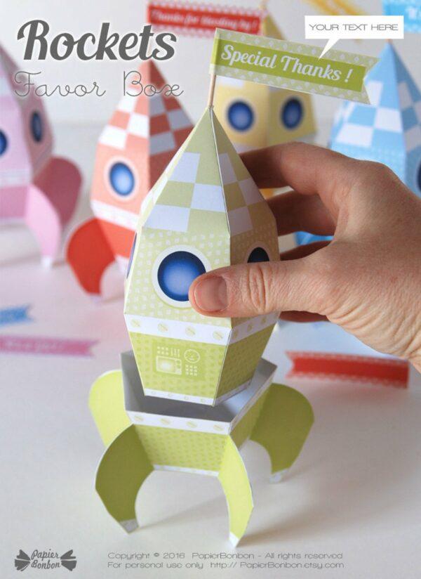 Boîtes fusées couleurs pastels Rockets box